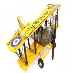 Çift Kanatlı Sarı Metal Uçak